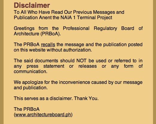 PRBoA disclaimer