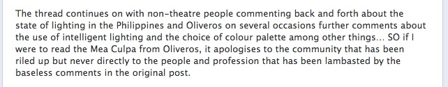 Excerpt from John Batalla's status on the Oliver Oliveros apology.