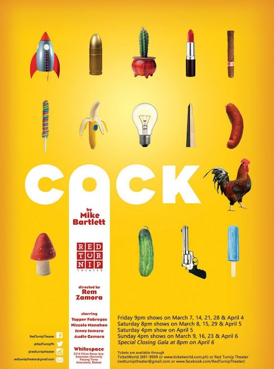 Cock poster via Red Turnip Theater.